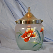 REDUCED Glass Biscuit Jar-Hand Painted