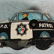 REDUCED Tin Wind Up Police Car-1950's