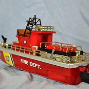 Toy Battery Powered Fire Department Boat by New Bright