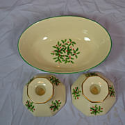 Lenox Candle Holders and Serving Bowl-Holly  Pattern