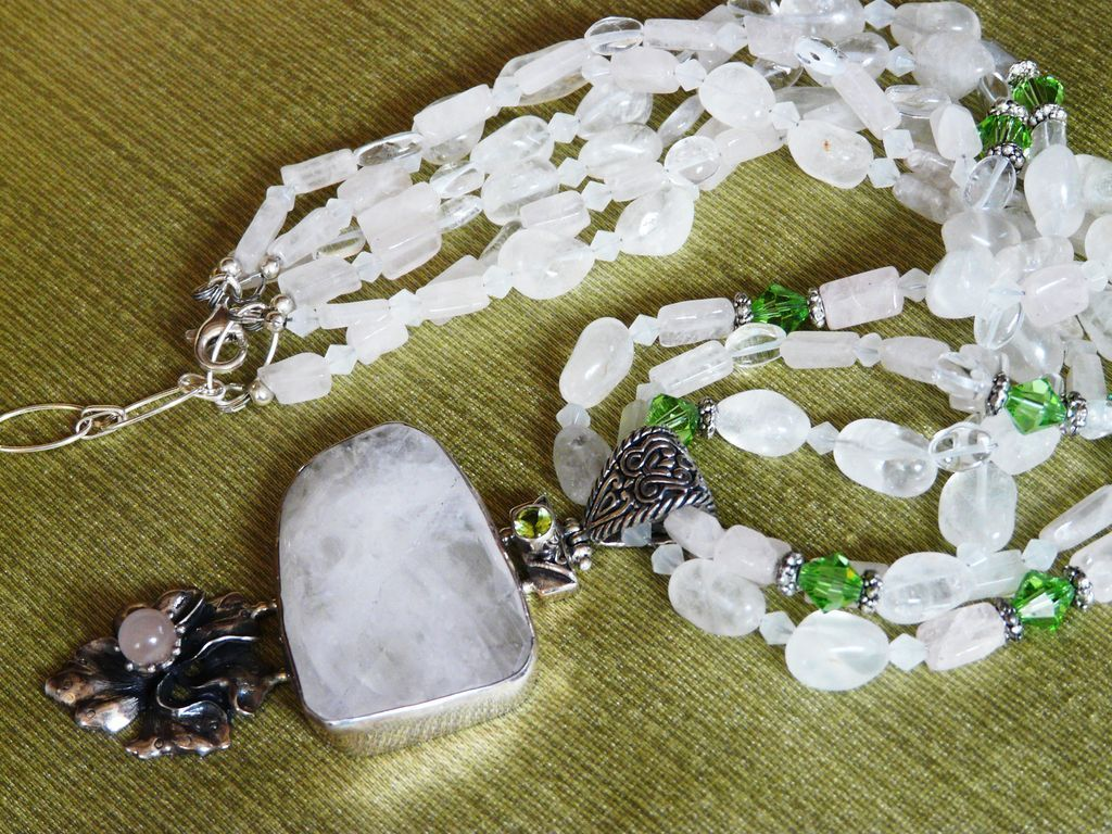 Lovely Statement Multi-strand Rose Quartz Necklace with Lovely Flower Pendant