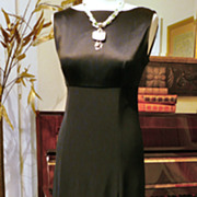 Elegant Long Vintage Jones New York Evening Gown, Empire Waist, Black