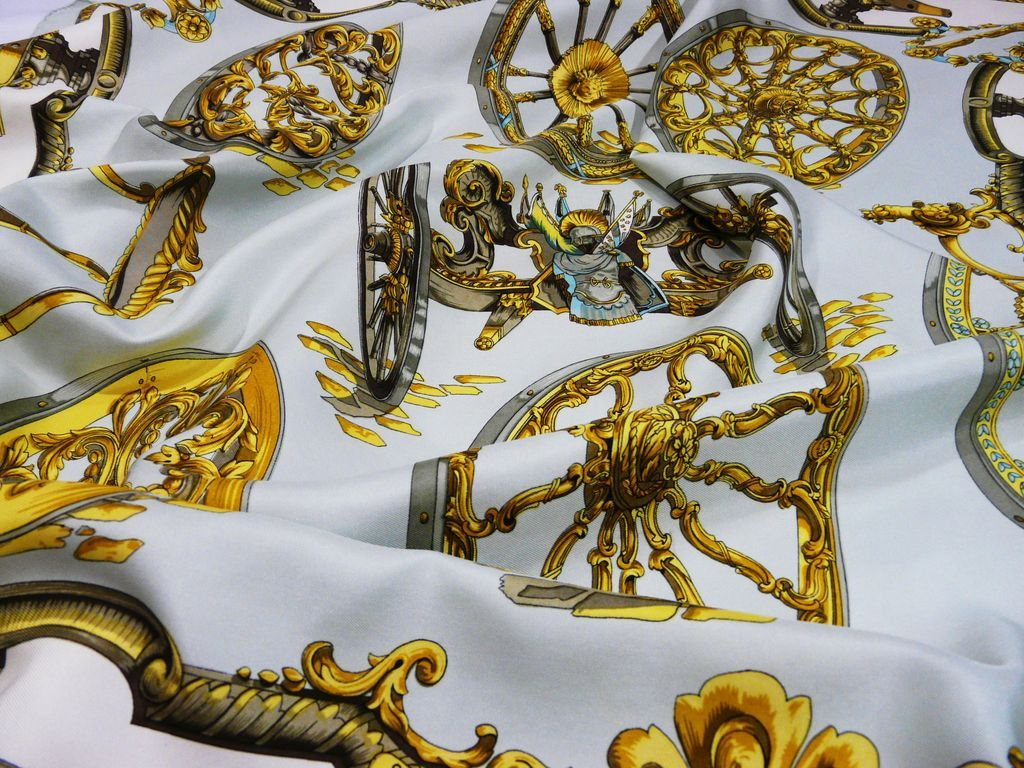 Authentic Vintage Hermes Silk Scarf  Carre ROUES de CANON from  Authentic Vintage Hermes Scarves