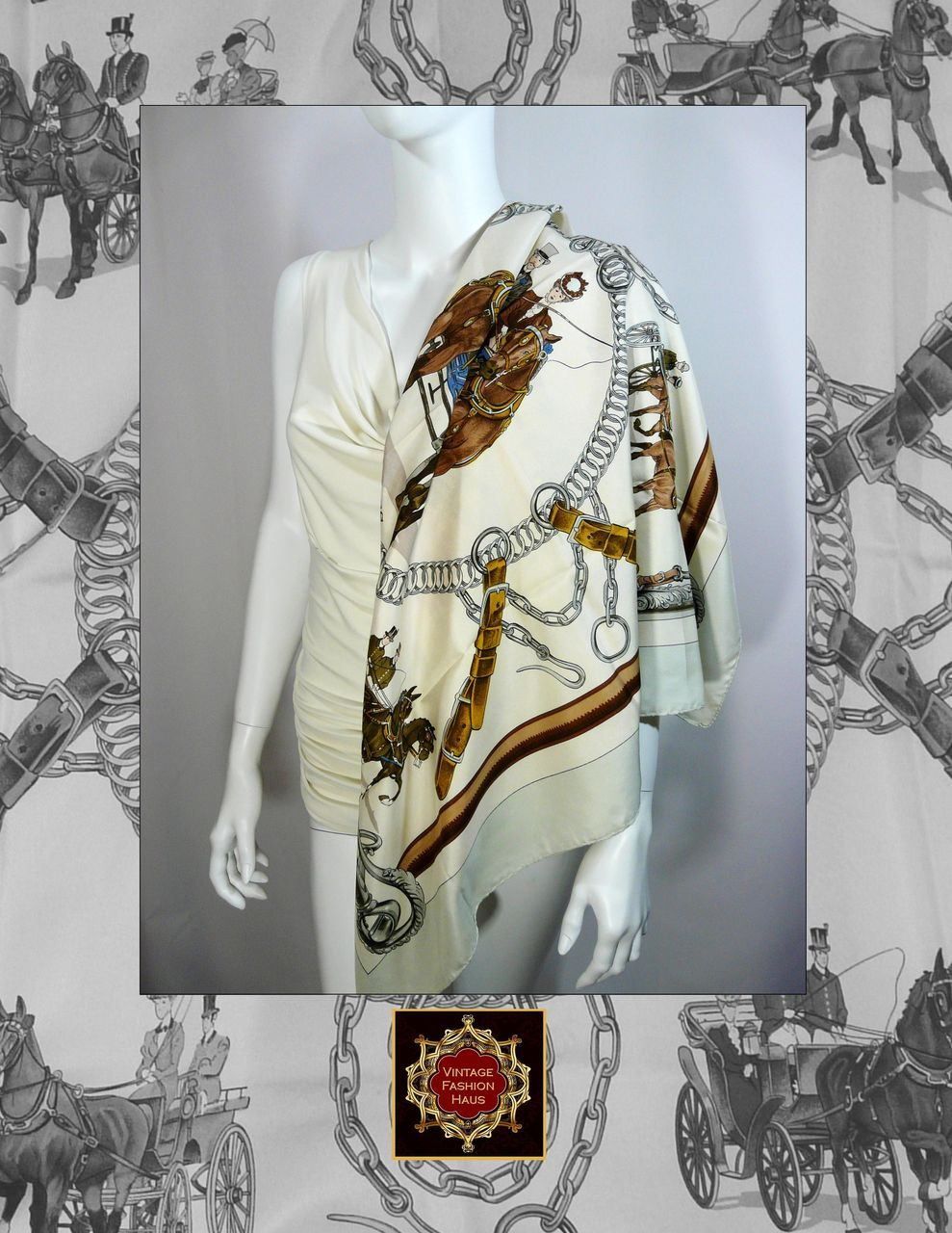 Authentic Vintage Hermes Silk Scarf  Carre EQUIPAGE from  Authentic Vintage Hermes Scarves