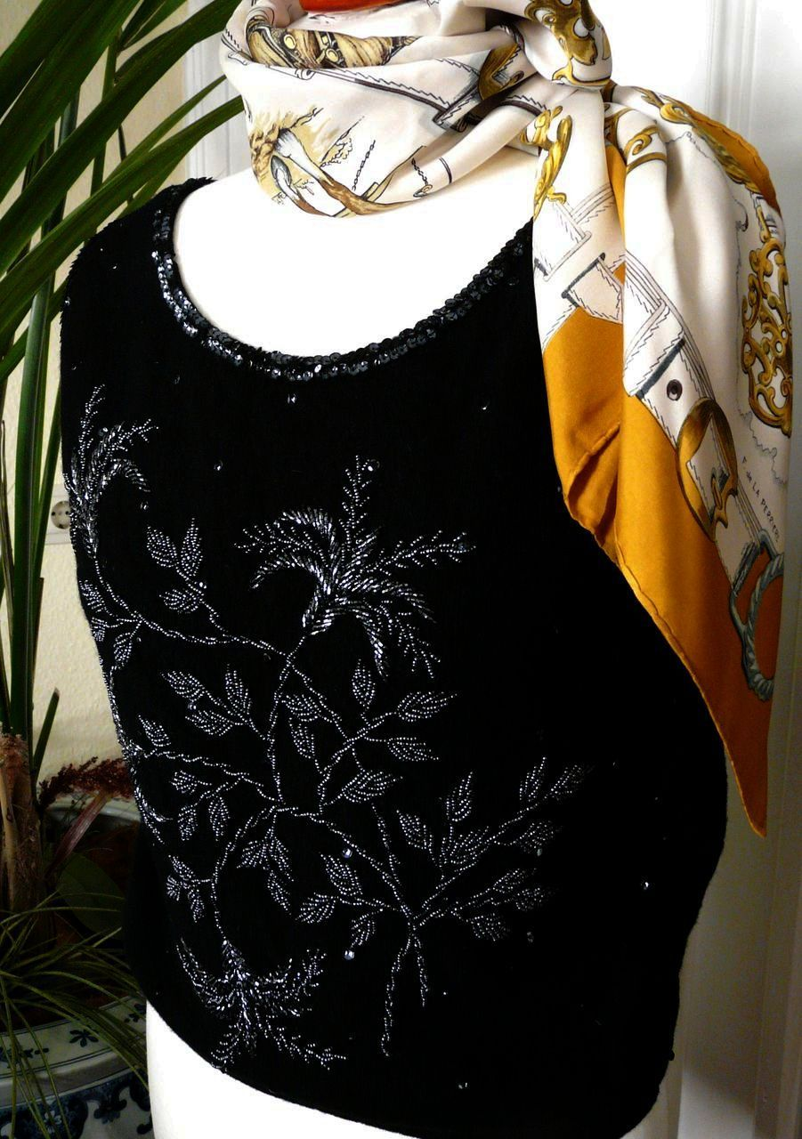 Darling Vintage 50s Beaded Knitted Top - Black