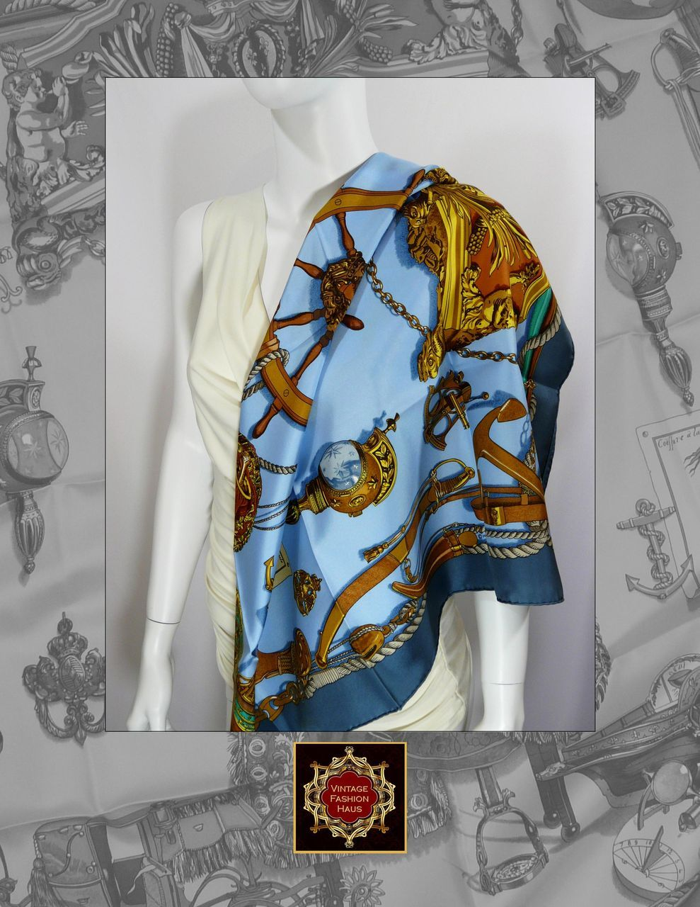 Authentic Vintage Hermes Silk Scarf  Carre MUSEE from  Authentic Hermes Scarves