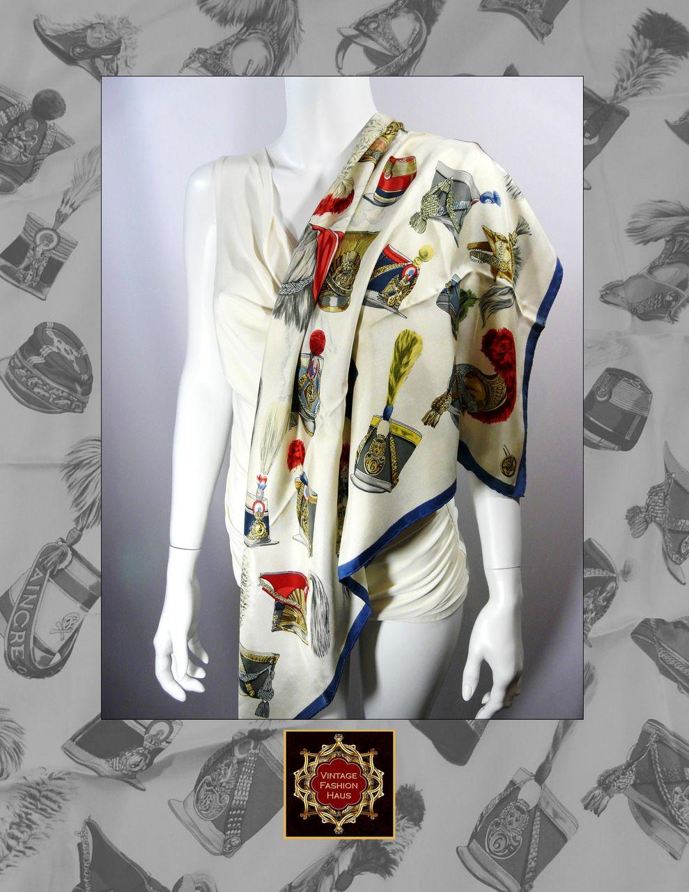 Authentic Vintage Hermes Silk Scarf  Carre Casques et Coiffures  Authentic Vintage Hermes Scarves