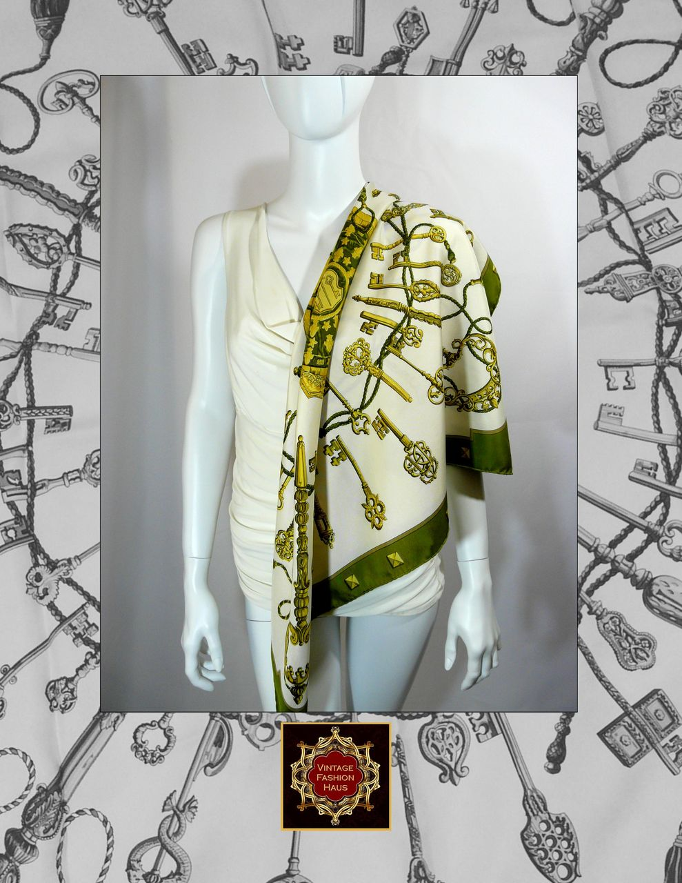 Authentic Vintage Hermes Silk Scarf LES CLS  Olive  Great Value Authentic Vintage Hermes Scarves