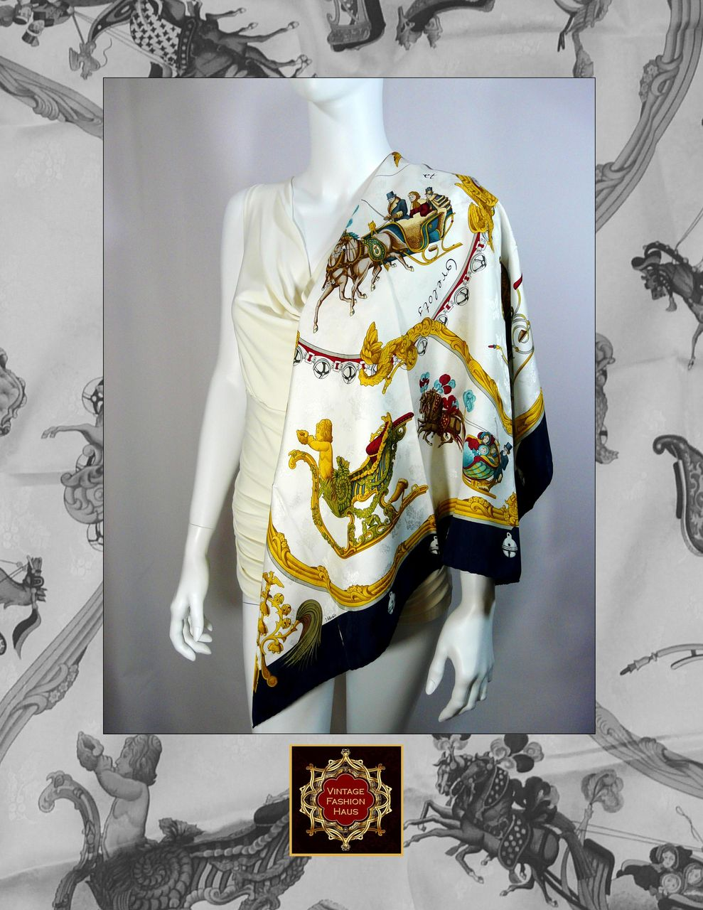 Authentic Vintage Jacquard Hermes Silk Scarf Plumes Et Grelots Authentic Vintage Hermes Scarves