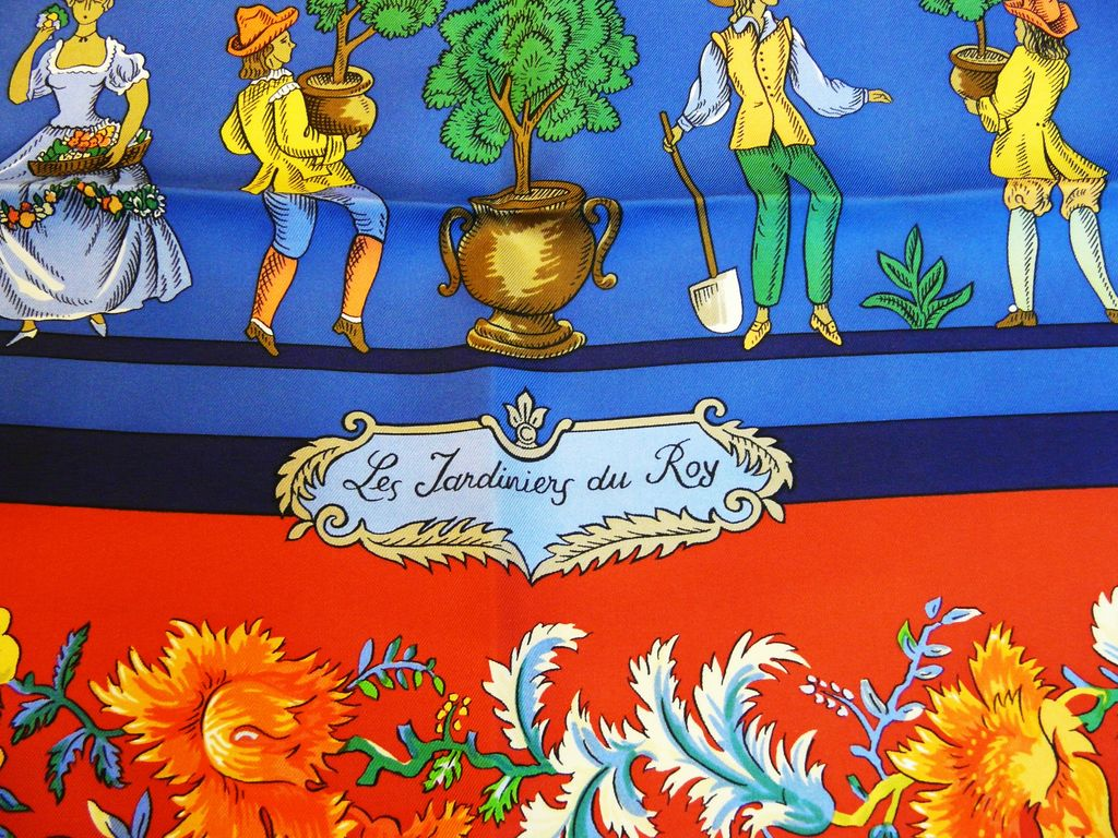 Authentic Vintage Hermes Silk Scarf Les Jardiniers du Roy - Mint - Unworn with Box
