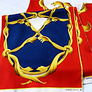 Authentic Vintage Herm�s Silk Opera Scarf Crowns or Couronnes - Navy // Red - 29.5 x 182 cm