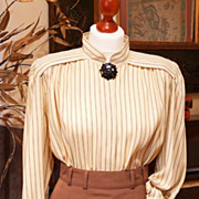 Vintage Pinstriped Mondi Blouse - Great 40s Look