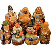 REDUCED Seven Gods of Good Fortune Kutani Porcelain Figurines - Complete Set