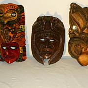 3 Carved Wood Masks