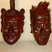 2 Carved Wood Masks