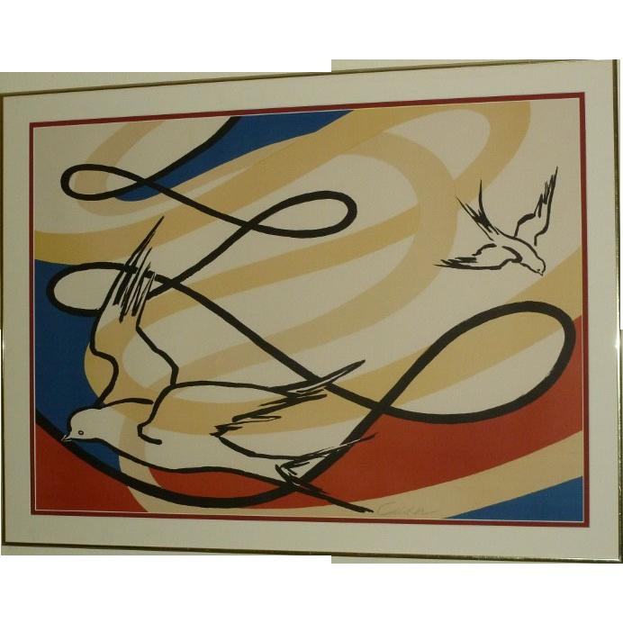 "A. Calder Signed Lithograph ""Birds In Flight"""