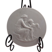 SALE Sevres Bisque Porcelain Medallion of Cupid and Venus
