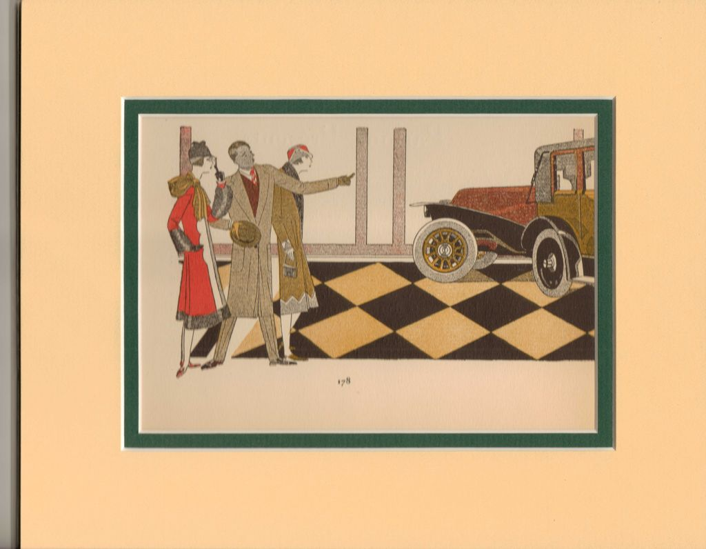 Glamorous French Art Deco Pochoir Print - &quot;Farewell&quot;, signed, 1920's