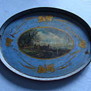 SOLD Antique French Toleware Tray, Mid-19th century, Hand-painted
