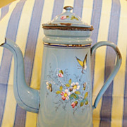 SALE Exceptional &quot;French&quot; Antique Coffee Pot with filter, Enamelware, Signed