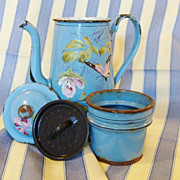 SALE Enamelware French Antique Coffee Pot with filter, Hand-painted