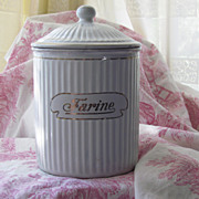SALE Antique French Enamelware Flour Canister - BB Freres