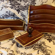 Superb Antique English Mahogany and Bronze 4-pc Desk Set