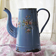 SALE Antique Handpainted French Coffee Pot, Enamelware