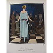 REDUCED 'Come Dance' Art Deco Pochoir Fashion Print by P, Brissaud, La Gazette de Bon Ton, 192