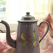 SALE French Vintage Coffee Pot, Enamelware