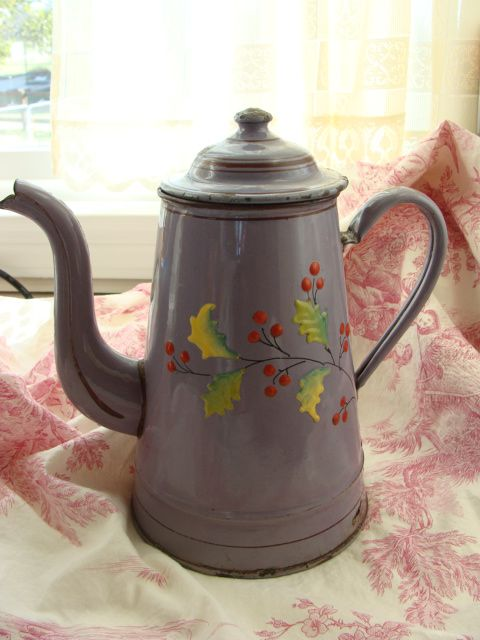 French Vintage Coffee Pot, Enamelware