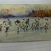 1902 Raphael Tuck & Sons &quot;Oilette&quot; Postcard Winter Sports-Canada Hockey