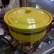 SOLD Bauer Ring ware pottery casserole golden sunshine yellow with rack wood handles copper