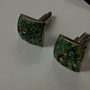 Malachite cuff links mid century  silver tone backings