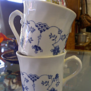 2 English Deco style blue white cups mugs