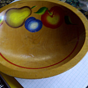 Hand Painted vintage Oval wood bowl fruit pear apple plum vintage