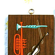 Mid Century Wall Art Musical Beatnik Jazz Hand Colored 16 inch