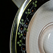 Large Charger or bowl pink depression with great flowers hand painted gold trim