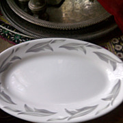 Jackson China Restaurant Ware gray leaves oval plates 5