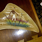 Marc Bellaire Jamaiican Series large ceramic footed dish signed Mid Century