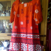 Made in Hawaii Dress with oranges reds and whites Size 12 vintage