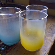 3 Blendo glasses juice yellow aqua blue green with gold rim mid century