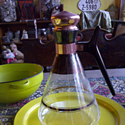 Mid century modern Pyrex carafe decanter with boomerang handle copper fittings
