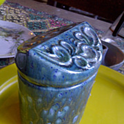 Aqua funky retro vintage trinket thing with lid swirls ceramic