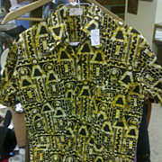 Vintage Batik Craft shirt black yellow button up short sleeve men Large