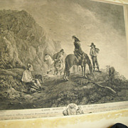 1751 Etching Jacques Aliamet of Philips Wouwerman Garde Avancee de Hulans Horse