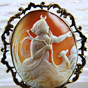 Super Large Cameo Brooch of Artemis and Deer in Clouds