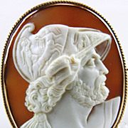 Victorian Huge Museum Quality Cameo of Menelaus in 10k Gold