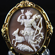 XXLarge Victorian Cameo Brooch of &quot;Artemis (Diana) on the Hunt&quot;