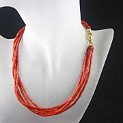 SALE 18k Multi-strand Red Coral Choker Necklace